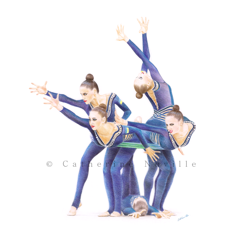 Dessin Catherine Nuville, Ukrainian group drawing, équipe d'Ukraine de gymnastique rythmique dessin, Ulraininan group drawing by Catherine Nuville, gymnastes aux cerceaux, gymnasts with hoops