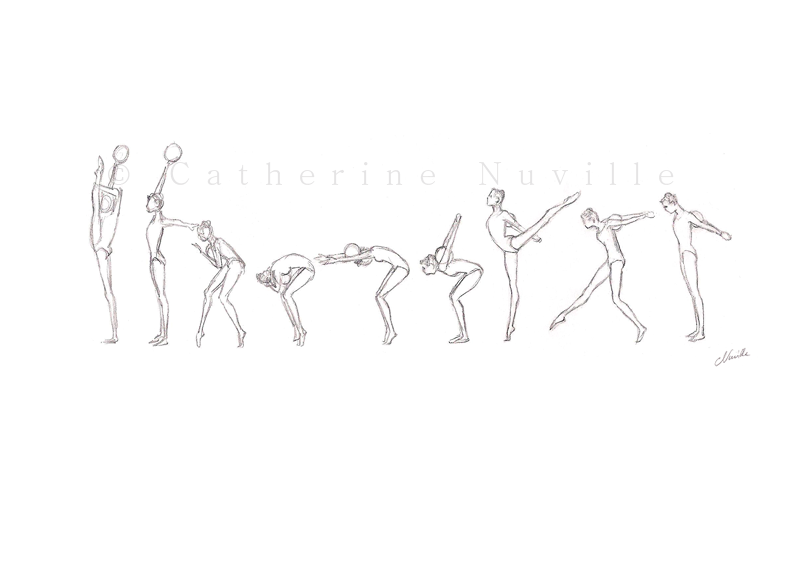 Dessin Catherine Nuville, Carmen Acedo ball 1992, Carmen Acedo dessin, Carmen Acedo drawing, gymnastique rythmique dessin, rhythmic gymnastics drawing, rg sketches, rg art
