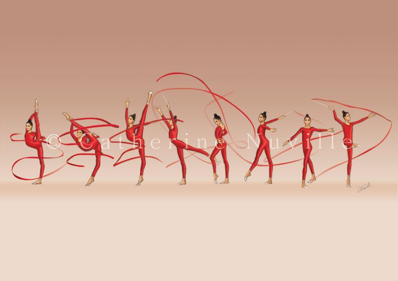 Dessin Catherine Nuville, Yana Batyrchina ribbon 1994, Yana Batyrchina dessin, Yana Batyrchina drawing, dessin gymnastique rythmique, rhythmic gymnastics drawing, rhythmic drawing, dessin gymnaste, gymnast drawing, rg sketches, rg art, rhythmic sketches, croquis gymnastique, croquis mouvement, gymnaste au ruban, rhythmic gymnast with ribbon