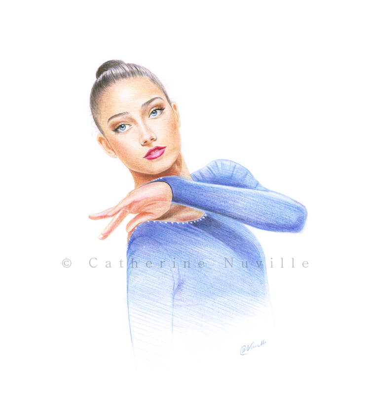 Letizia Cicconcelli dessin, Letizia Cicconcelli drawing, portrait de gymnaste, dessin de gymnaste, rhythmic gymnastics drawing, rhythmic drawing, dance drawing, dessin danse, Letizia Cicconcelli disegno
