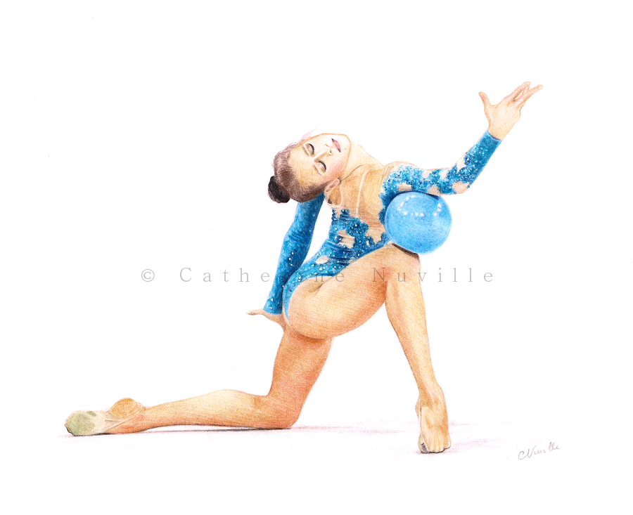 Valeria Vatkina dessin, Valeria Vatkina drawing, dessin de gymnaste, rhythmic gymnastics drawing, rhythmic drawing, gymnaste avec un ballon, gymnast with a ball, gymnaste visage, gymnaste regard, gymnast face, gymnast look, gymnast expression, gymnast expressivity, dessin au crayon de couleur, pencil color drawing, gymnaste avec un ballon bleu, gymnast with a blue ball