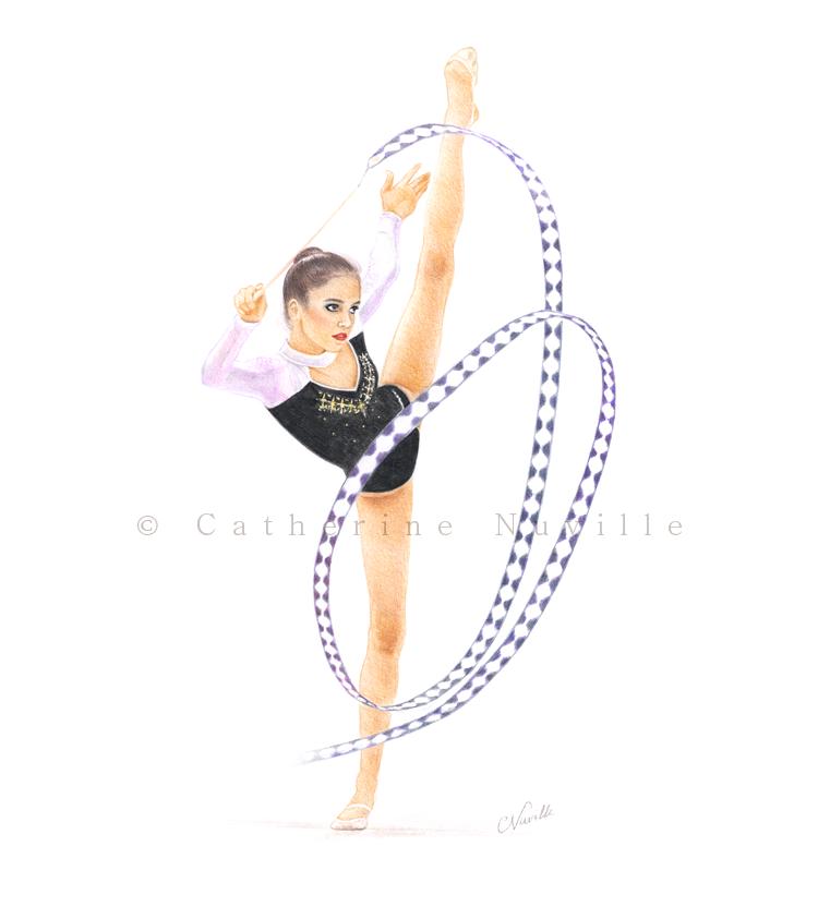 Teodora Alexandrova drawing, Teodora Alexandrova gymnast, Teodora Alexandrova by Catherine Nuville