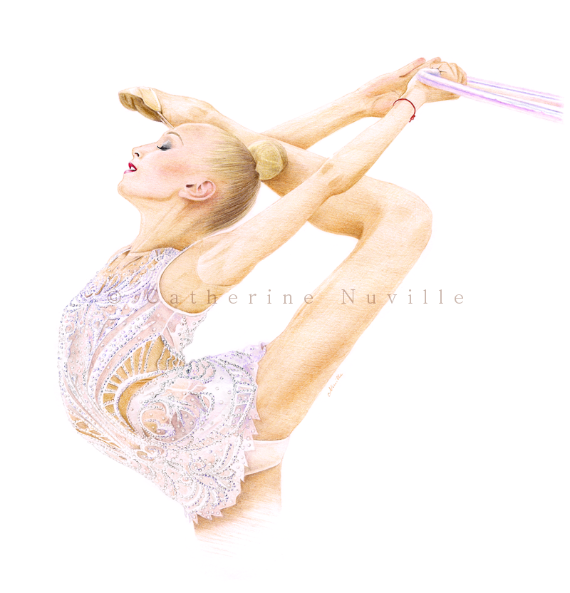Viktoria Onoprienko drawing, portrait de gymnaste, dessin de gymnaste, rhythmic gymnastics drawing, rhythmic drawing, gymnaste avec un cerceau, gymnast with a hoop, gymnast flexibility