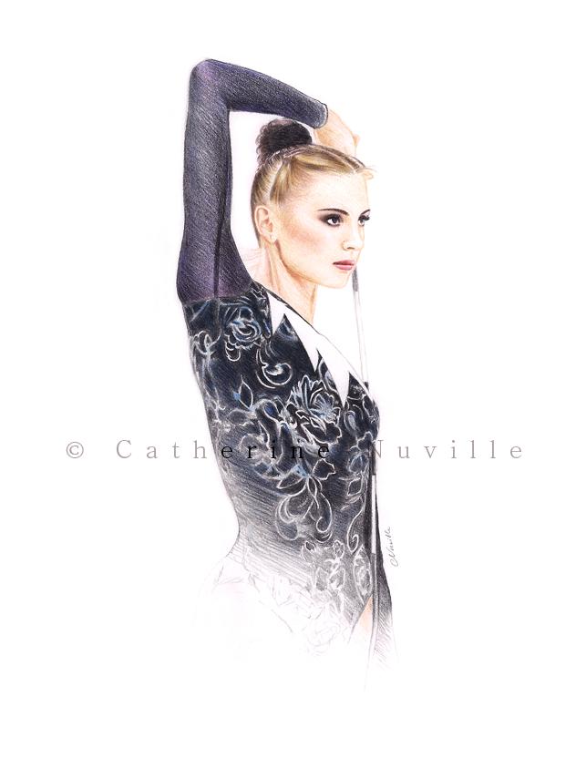 Tatiana Ogryzko dessin, Tatiana Ogryzko drawing, portrait de gymnaste, dessin de gymnaste, rhythmic gymnastics drawing, rhythmic drawing, gymnaste visage, gymnaste regard, gymnast face, gymnast look