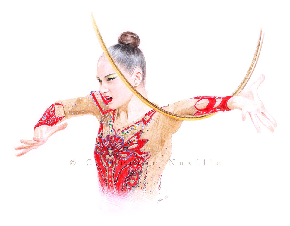 Evgeniya Gomon dessin, Evgeniya Gomon drawing, portrait de gymnaste, dessin de gymnaste, rhythmic gymnastics drawing, rhythmic drawing, gymnaste concentrée, gymnast concentration, gymnaste visage, gymnaste regard, gymnast face