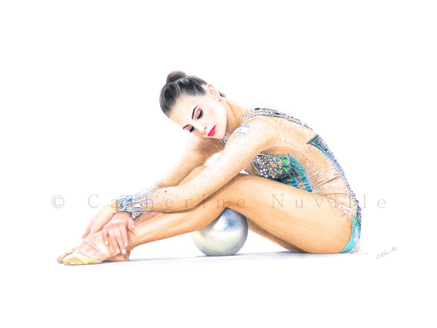 Linoy Ashram drawing, Ashram portrait, gymnast drawing, Linoy Ashram ball