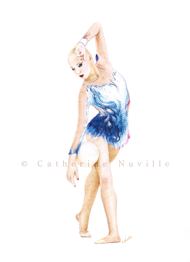 Kseniya Moustafaeva dessin, Kseniya Moustafaeva drawing, dessin de gymnaste, rhythmic gymnastics drawing, rhythmic drawing, gymnaste avec un ballon, gymnast with a ball, dessin au crayon de couleur, pencil color drawing