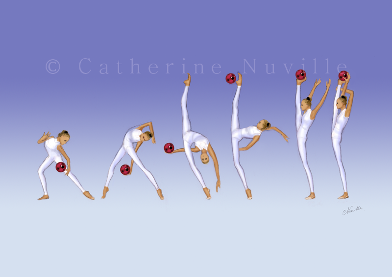 Dessin Catherine Nuville, Olga Gontar ball 1994, Olga Gontar dessin, Olga Gontar drawing, dessin gymnastique rythmique, rhythmic gymnastics drawing, rhythmic drawing, dessin gymnaste, gymnast drawing, rg sketches, rg art, rhythmic sketches, croquis gymnastique, croquis mouvement, gymnaste au ballon, rhythmic gymnast with ball