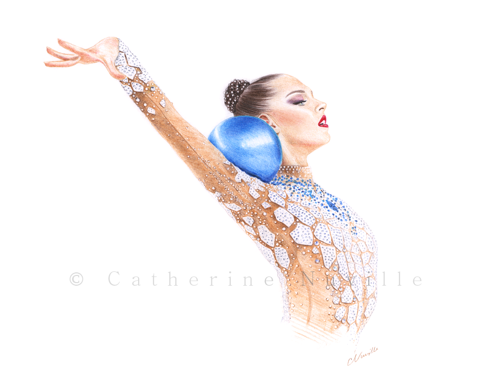 Melitina Staniouta, gymnast, profil, bautiful gymnast with blue ball