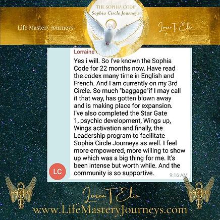 lorraine on sophia circle journey and sophia code mystery school lorea elia lifemasteryjou