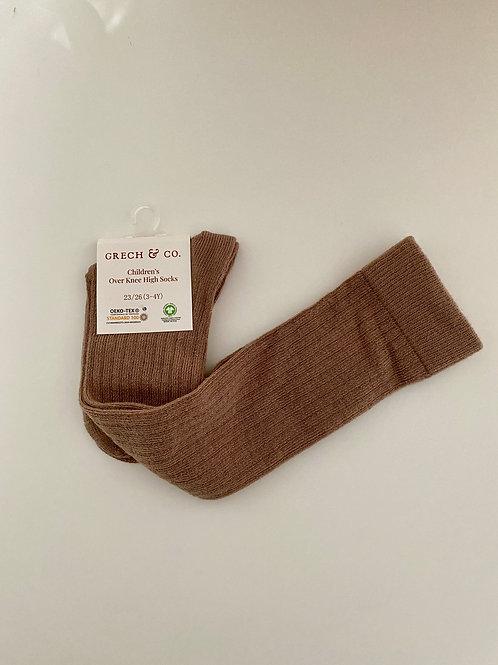 Grech & Co Organic Cotton Over Knee Socks - Stone - 27/30