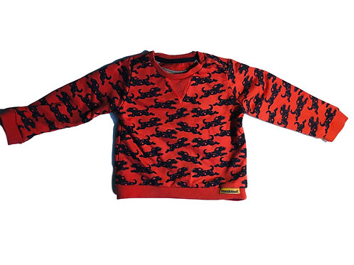 Rode sweater met zwarte honden - Moodstreet (artikel 88)