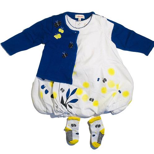 Setje: jurk, kousen en cardigan - Catimini (artikel 621)