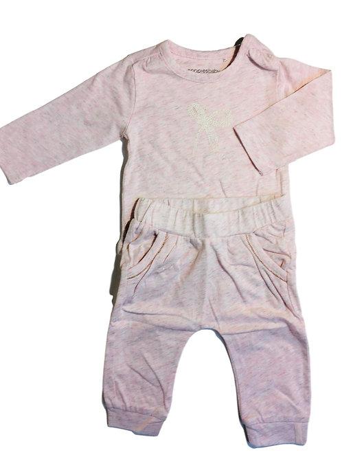 Setje: t-shirt met broek licht roze met gouden spikkel - Noppies (artikel 630)