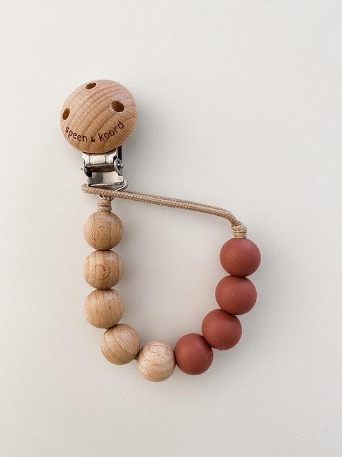 Pacifier Clip ANNA - light mahogany