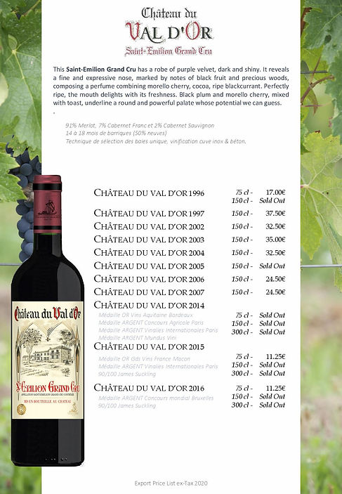 Saint Emilion wine Chateau Val d'Or