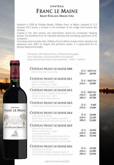Saint Emilion wine Chateau Franc le Maine