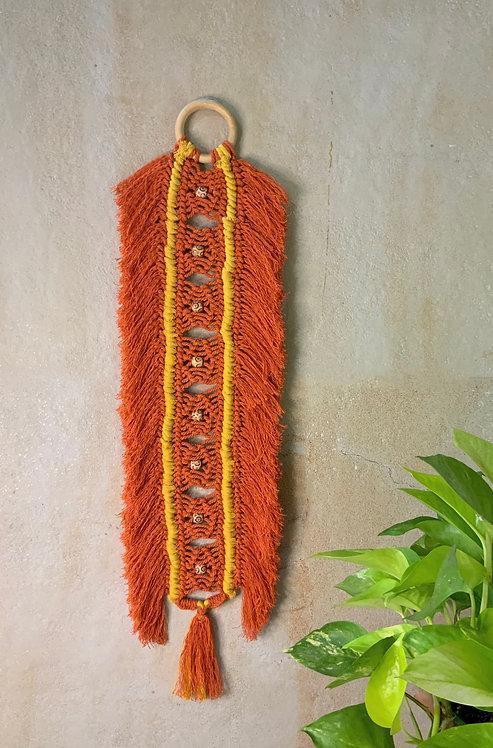 All about Knots - Orange Fringed Barrel Hanging