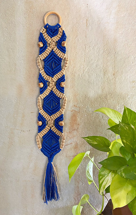 All about Knots - Blue & Beige Barrel Hanging