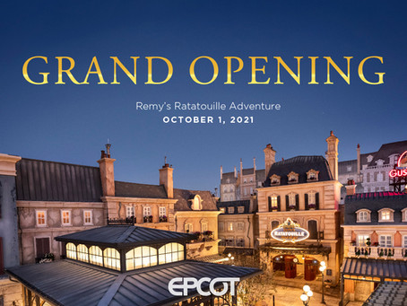 Just Announced! Remy's Ratatouille Adventure Grand Opening at EPCOT Set for Oct. 1, 2021, in Honor o