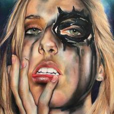 Acrylic on Canvas-- Self Portrait With Makeup--AP Studio-18 years old.JPG