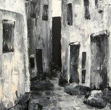 Acrylic on Canvas--City Street Corridor--Painting III--18 years old.jpg