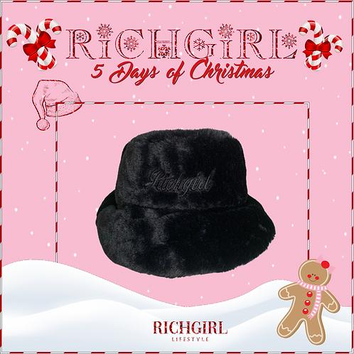 RICHGIRL FUR BUCKET HAT BLACK