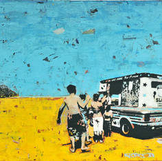 Ice Cream Van mixed medium