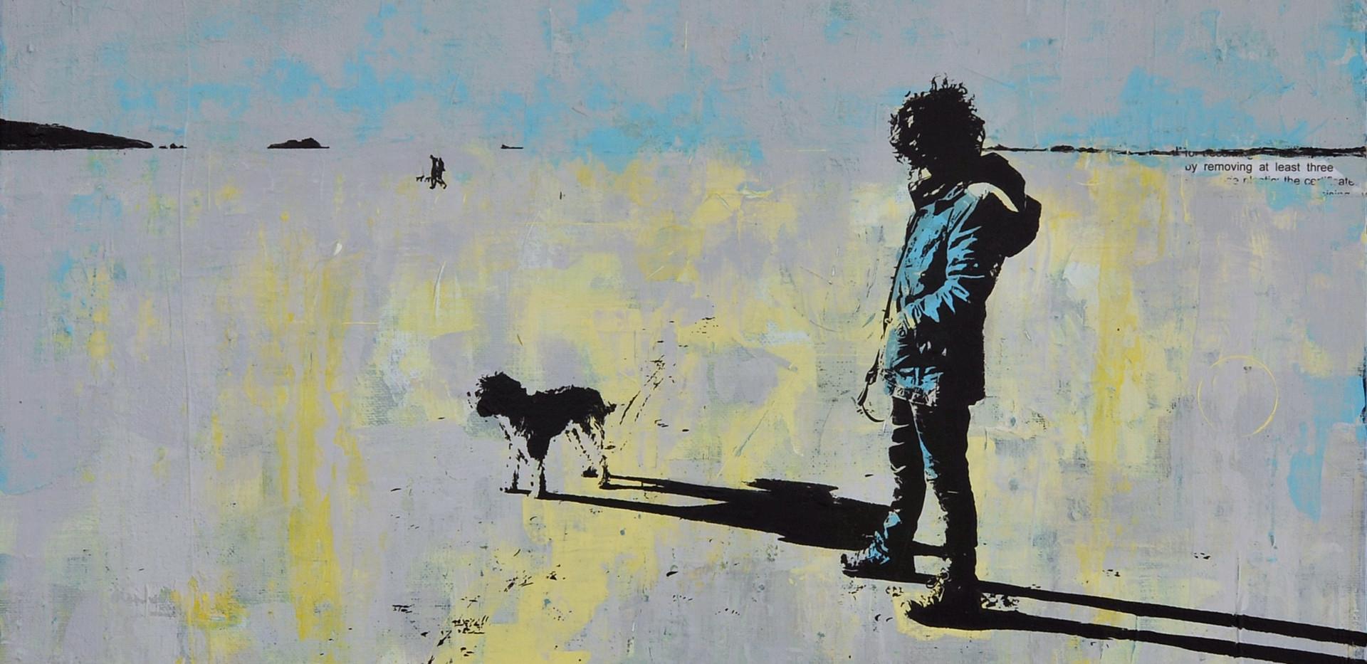 Dog Walking Broad Haven 66.5cm x 66.5cm.