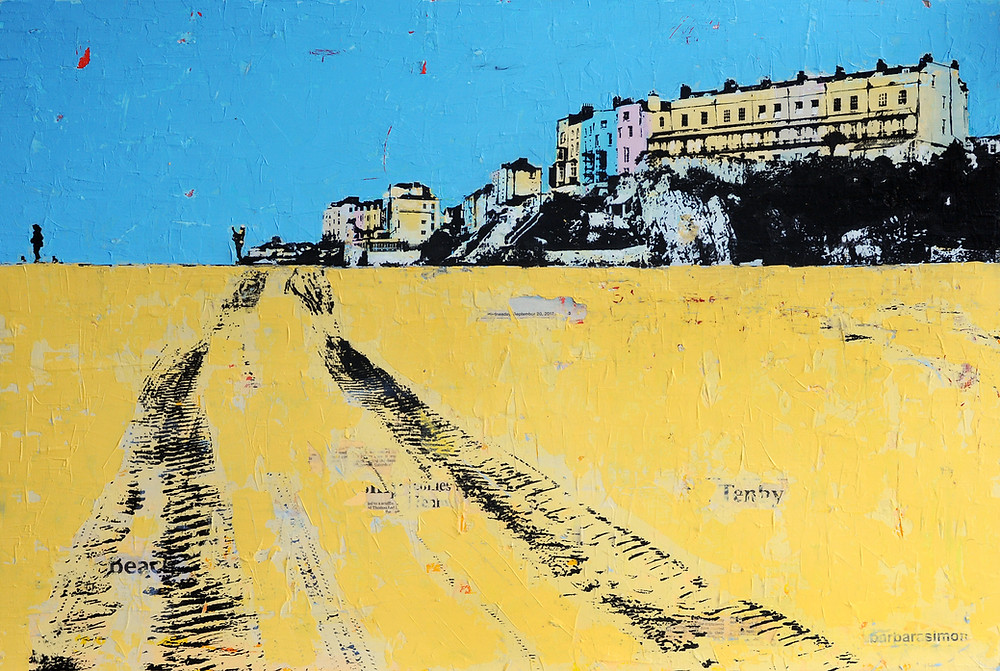 Tenby September, 92cm x 67cm, framed and ready to go to The Gallery Newport Pembrokeshire.