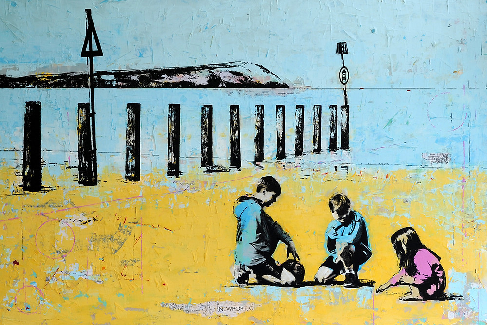 Commisioned Piece, Newport Beach with Children