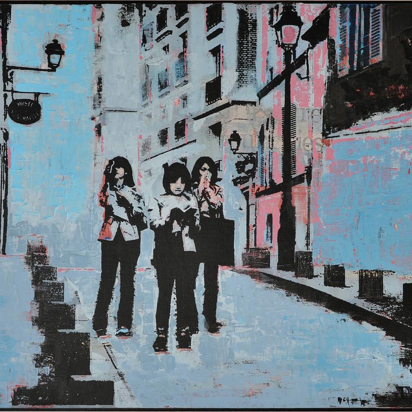 Three Tourists Montmartre 1