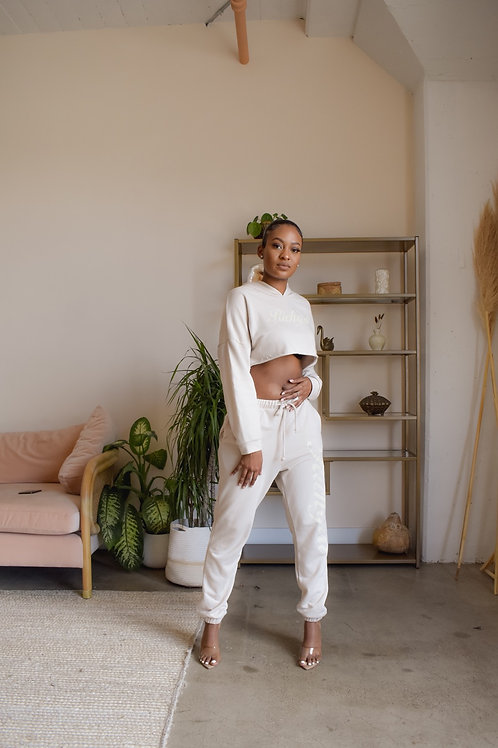 Taupe Cropped Sweatsuit