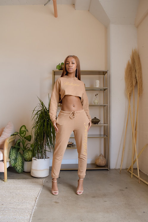 Camel Cropped Sweatsuit