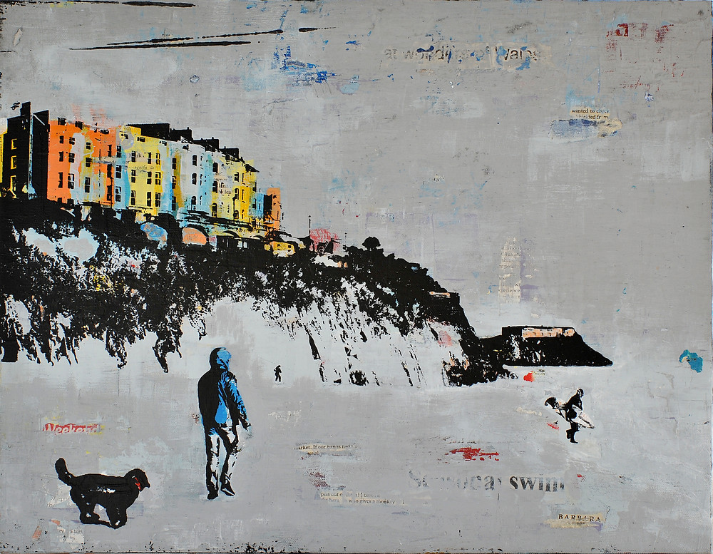Tenby 20th December, Mixed media on board