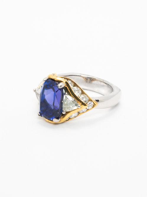 Cushion Tanzanite & Trillion Diamond Ring