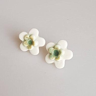 FLEUR Earrings (white/green)