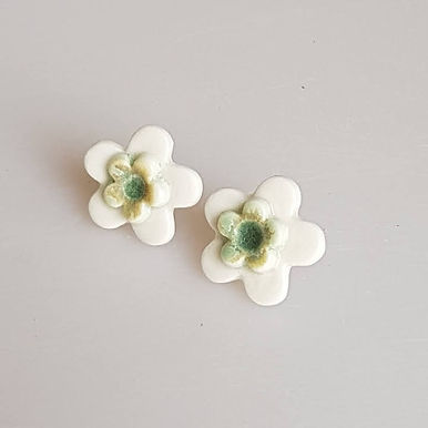 FLEUR Earrings (white/green)