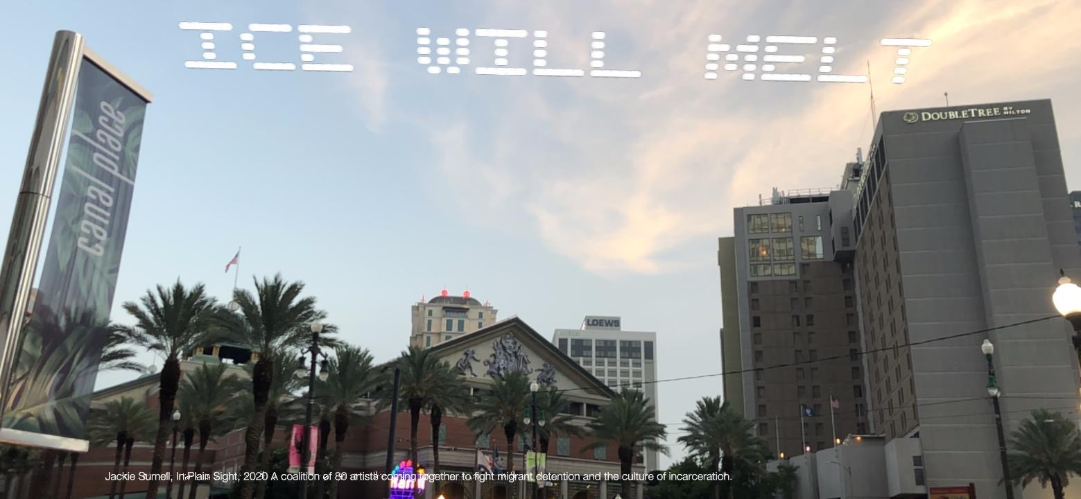"""""""ICE Will Melt""""   Jackie Sumell  New Orleans, LA  Go to: Immigration Court, 1 Canal Street, New Orleans, LA  Part of, In Plain Sight, conceived by Cassils and rafa esparza, a coalition of 80 artists fighting immigrant detention and the culture of incarceration"""