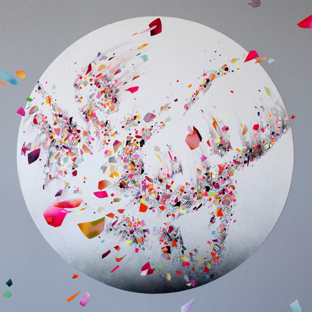 """EVER NOW 02, 2019, mixed media on paper, 36"""" diameter, created for AR-activated wall installation at Facebook, Los Angeles"""