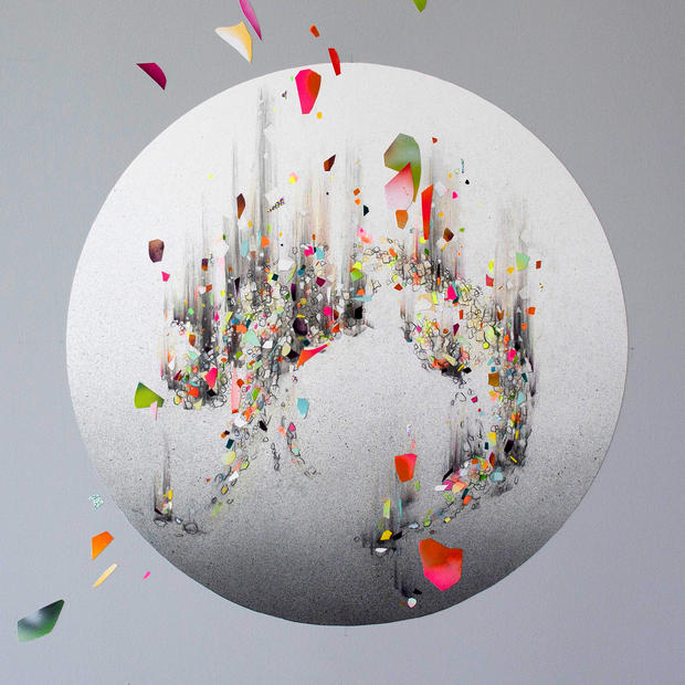 """EVER NOW 04, 2019, mixed media on paper, 28"""" diameter, created for AR-activated wall installation at Facebook, Los Angeles"""