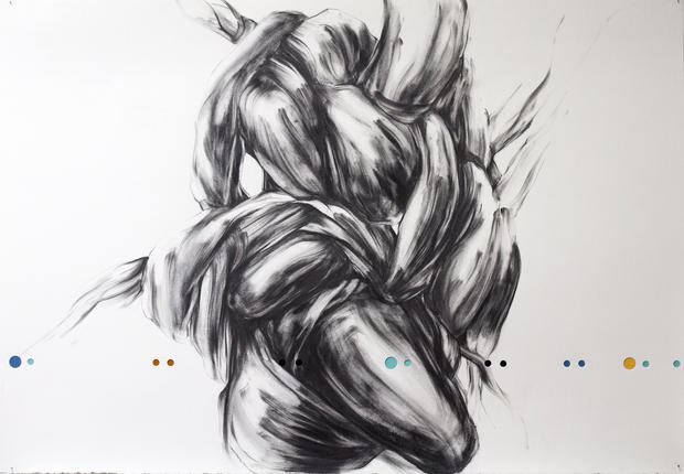 """Surd 18, 2016, Graphite and mixed media on punctured paper, 31"""" x 46"""""""