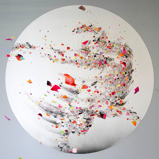 """EVER NOW 06, 2019, mixed media on paper, 55"""" diameter, created for AR-activated wall installation at Facebook, Los Angeles"""