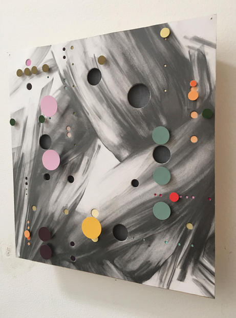"""Experimental Surd, 2016, Graphite and mixed media on punctured paper, wood, 12"""" x 12"""" x 1.75"""""""