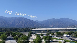 """""""No More Camps""""  Tsuru for Solidarity and Karen Ishizuka  Santa Anita, CA  Go to: Santa Anita Assembly Center, Santa Anita, CA  Part of, In Plain Sight, conceived by Cassils and rafa esparza, a coalition of 80 artists fighting immigrant detention and the culture of incarceration."""