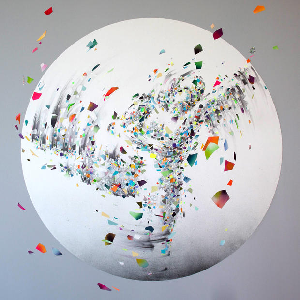 """EVER NOW 03, 2019, mixed media on paper, 55"""" diameter, created for AR-activated wall installation at Facebook, Los Angeles"""