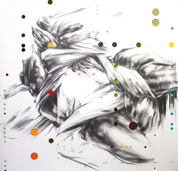 """Surd 30, 2016, Graphite and mixed media on punctured paper, 36"""" x 37.5"""""""