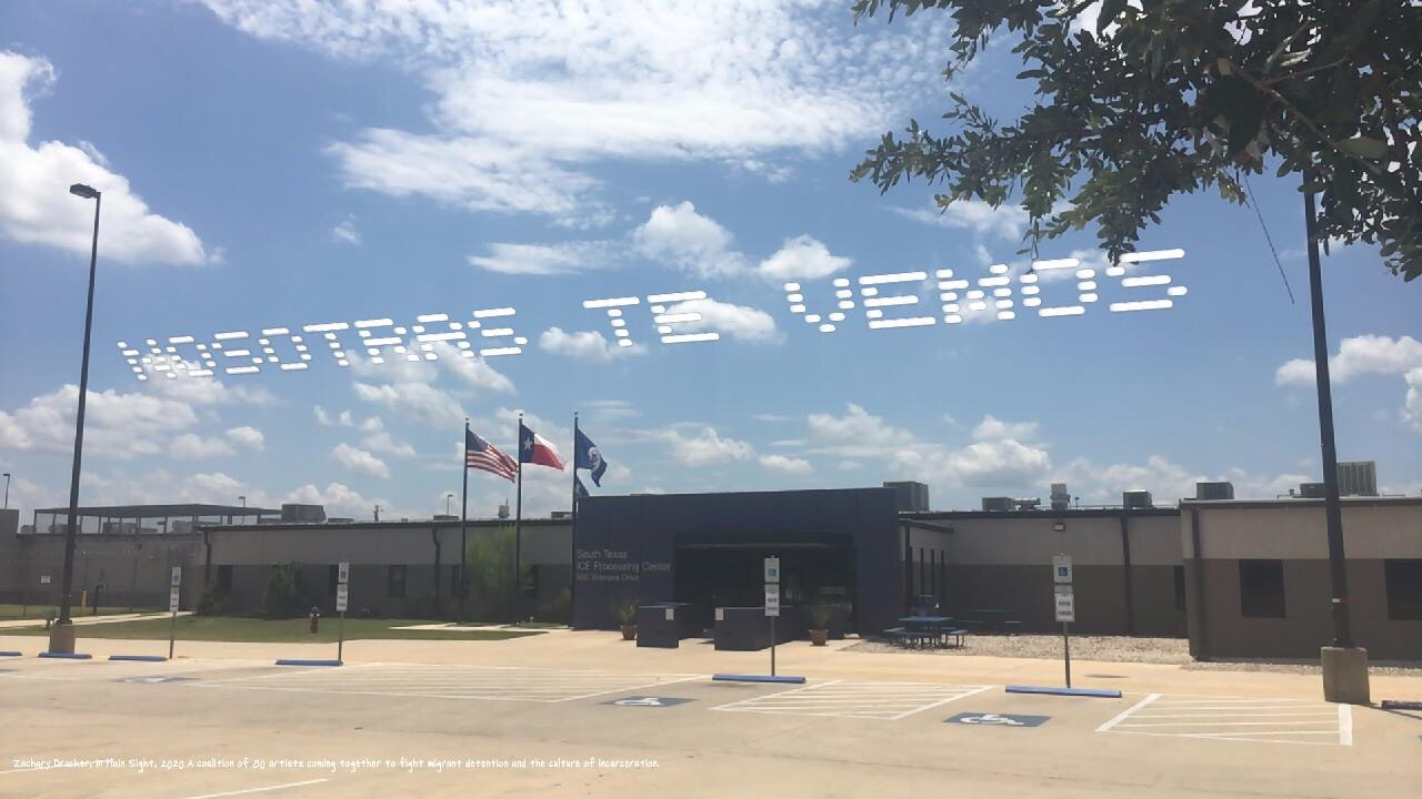 """""""Nosotras Te Vemos""""   Zackary Drucker  Pearsall, TX  Go to: South Texas Detention Complex, 566 Veterans Drive, Pearsall, TX 78061  Part of, In Plain Sight, conceived by Cassils and rafa esparza, a coalition of 80 artists fighting immigrant detention and the culture of incarceration"""
