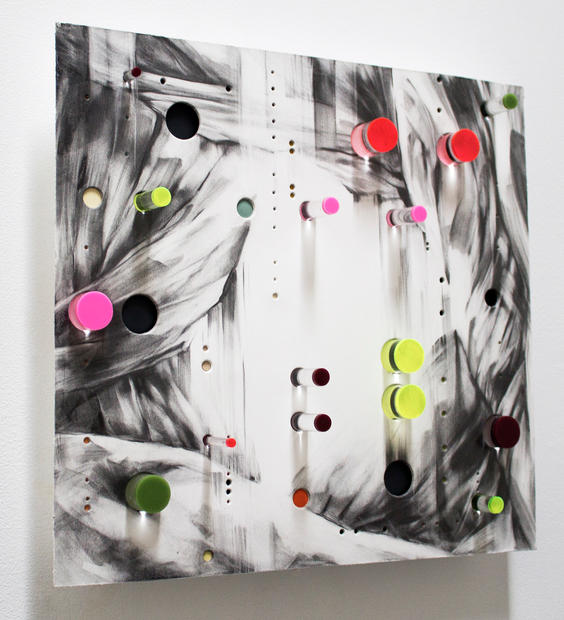 """3D Surd 1, 2016, Graphite, mixed media and lucite on punctured paper, 15"""" x 15"""" x 3"""""""