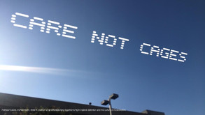 """""""Care Not Cages""""   Patrisse Cullors  Los Angeles, CA  Go to: 441 Bauchet St, Los Angeles, CA 90012  Part of, In Plain Sight, conceived by Cassils and rafa esparza, a coalition of 80 artists fighting immigrant detention and the culture of incarceration"""
